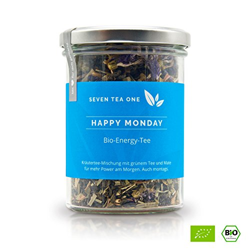 Happy Monday Bio Energy Tee mit viel Koffein & Energie, die gesunde Alternative zu Kaffee, 100% biologisch mit Mate & Guarana, 100g, Made in Germany