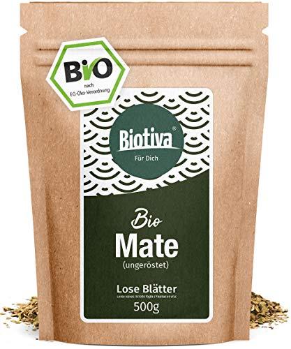 Matetee BIO 500g – ungerösteter grüner Mate Tee – Koffeinhaltige Yerba Mateblätter – Bio-Anbau – Verpackt und kontrolliert in Deutschland – GP: €2,58/100g
