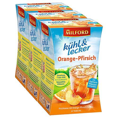Milford kühl & lecker Orange-Pfirsich, 20 Teebeutel, 3er Pack