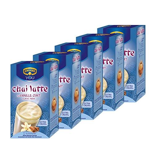 Krüger Chai Latte Classic India, Vanille-Zimt, mildes Milchtee Getränk, 5er Pack, 5 x 10 Portionsbeutel