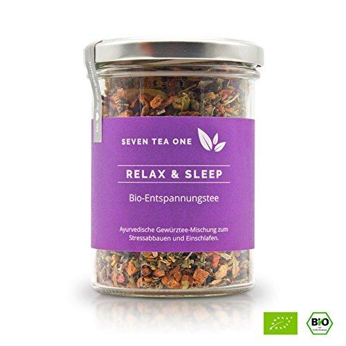 Relax & Sleep Bio Entspannungstee & Schlaftee zum Durchschlafen, natürlicher Tee zum Einschlafen, Beruhigungstee mit Johanniskraut zum Stress abbauen, 110g, Made in Germany