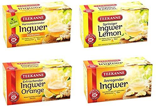 Teekanne Ingwer Tee Mix – Ingwer-Pur, Ingwer-Orange, Ingwer-Zitrone, Ingwer-Kurkuma (4×18 Beutel, 135,8g)