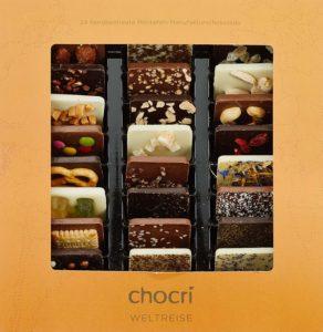 chocri Weltreise 24 Schokoladen Täfelchen in einer Geschenkbox